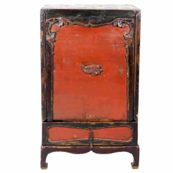 Antique Unusual Small Mongolian Cabinet 20 Inch Wide
