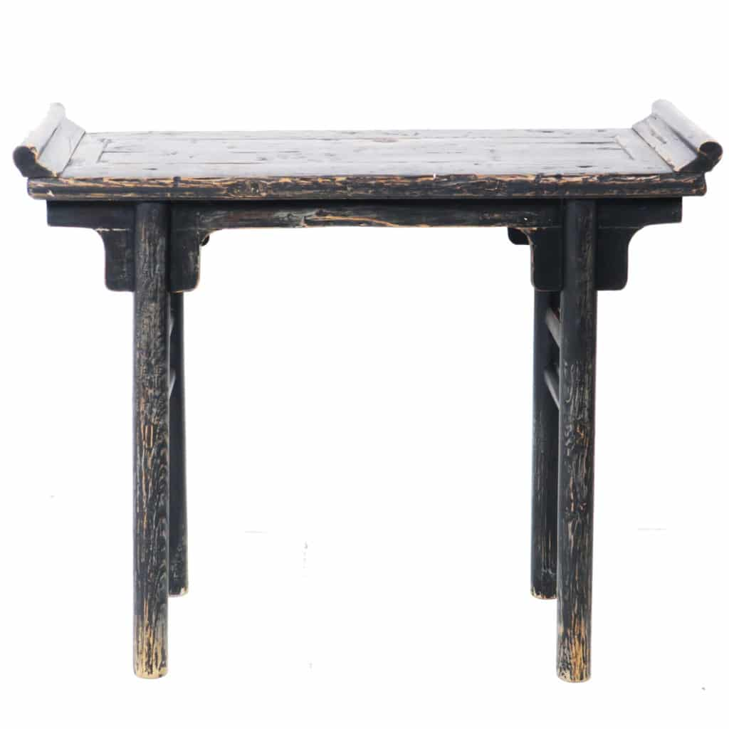 Antique Chinese 42 Inch Rustic Black Altar Hall Table