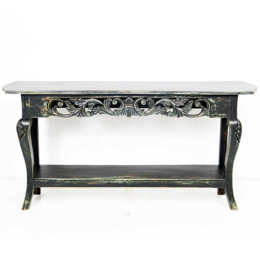 Astounding 60 Inch Repro Black Console Sofa Hall Table Antiqued Finish Cjindustries Chair Design For Home Cjindustriesco