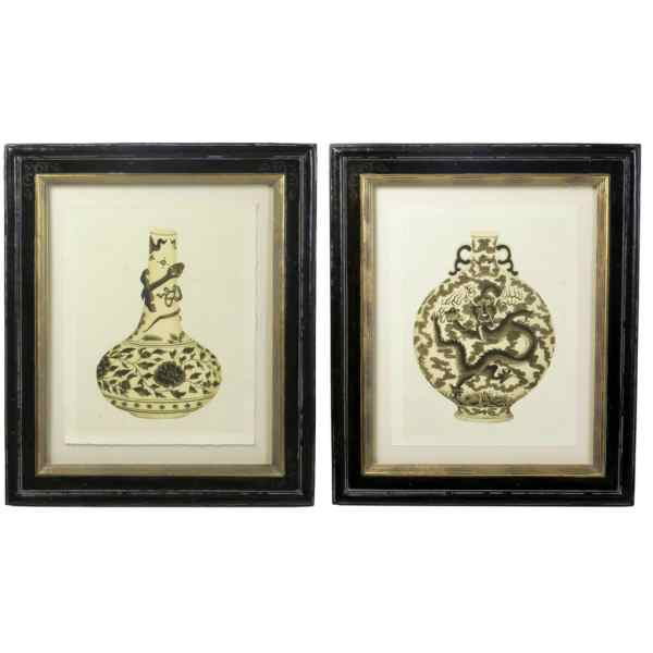 Two Chinese Vase Prints Trowbridge Limited Editions
