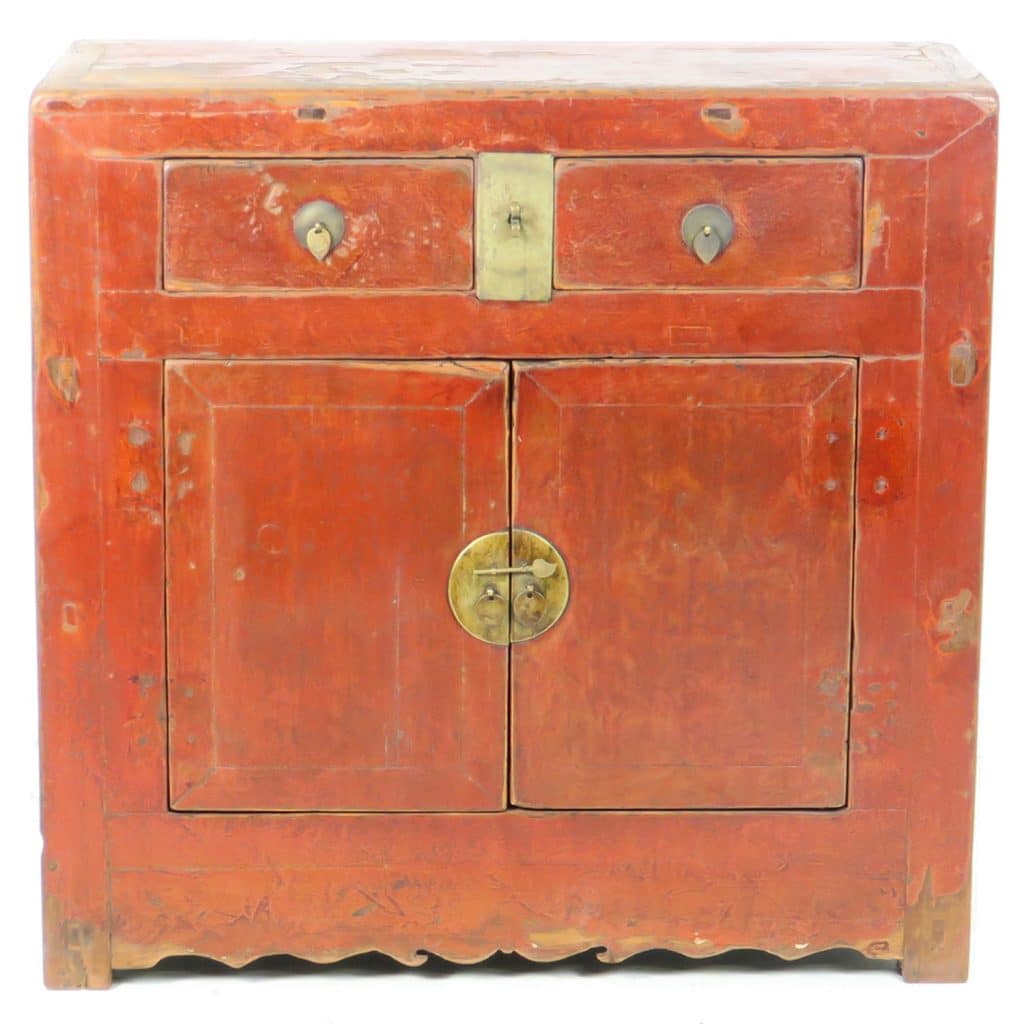 Antique Bed: Antique Chinese 38 Inch Wide 37 Tall 2 Door Red Cabinet