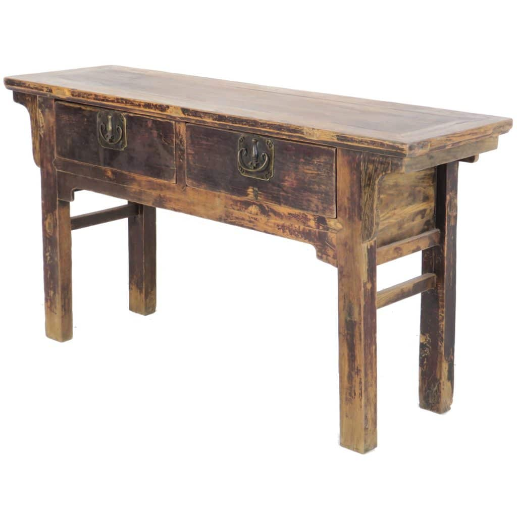 Antique Chinese 60 inch long 2 drawer Elm table, Dark brown lacquer