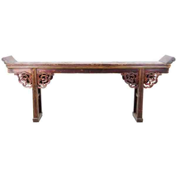 Antique Chinese 9 ft long Altar Table brown lacquer