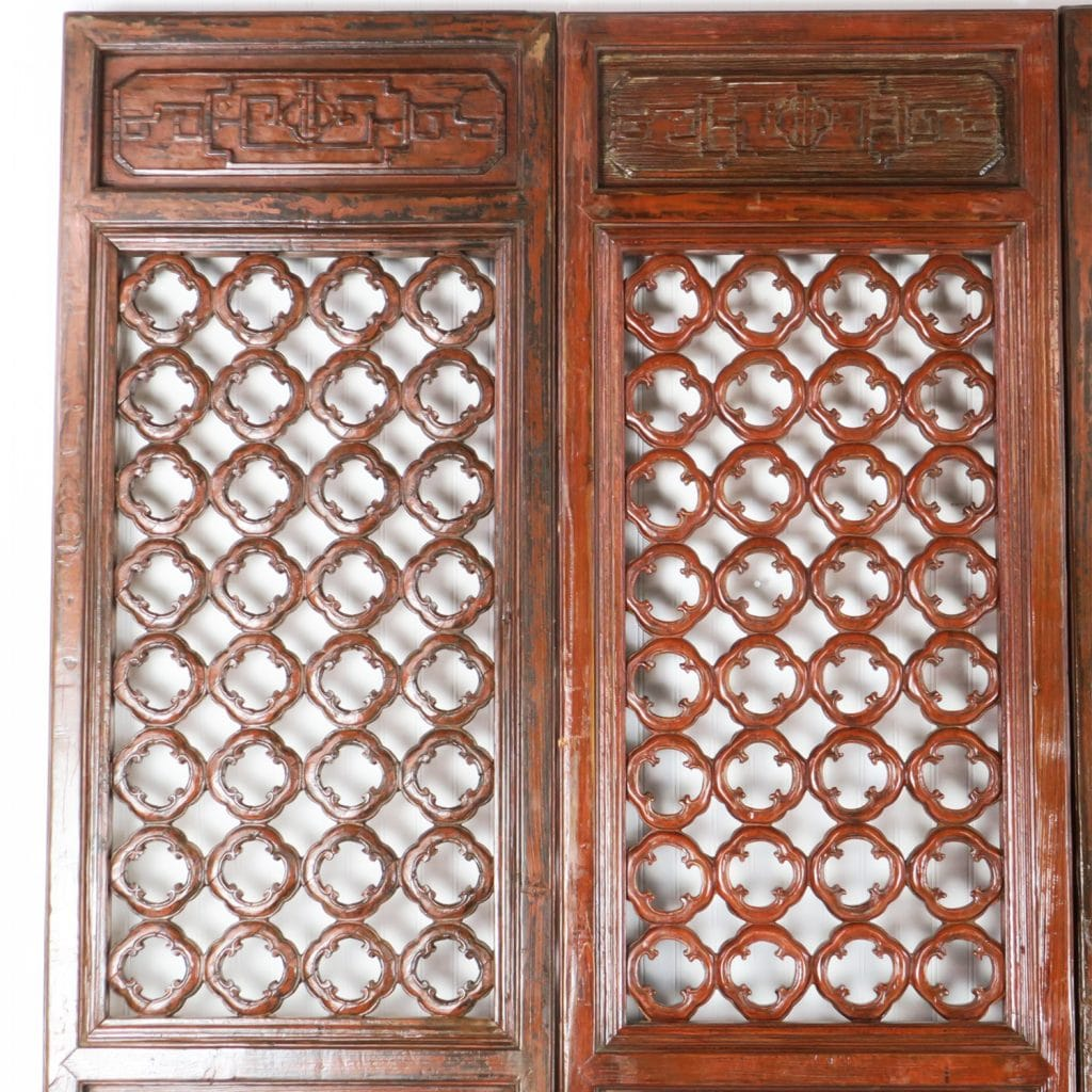 Antique Bed: 4 Antique Chinese Carved Courtyard Doors 21 Inch Wide 87 Tall