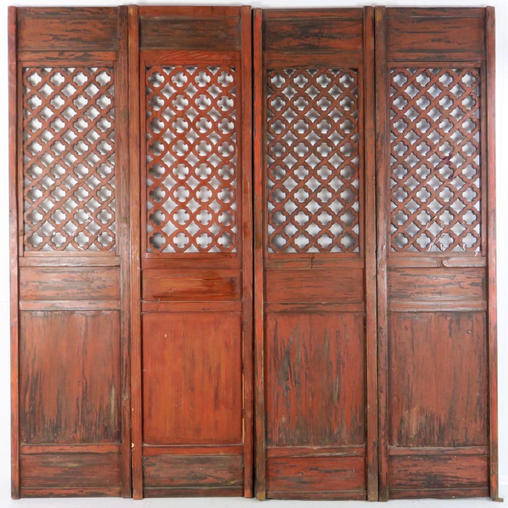 - 4 Antique Chinese Carved Courtyard Doors 21 Inch Wide 87 Tall
