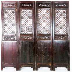 Set of 4 Antique Chinese Doors Dark Brown Carved Nice Headboard