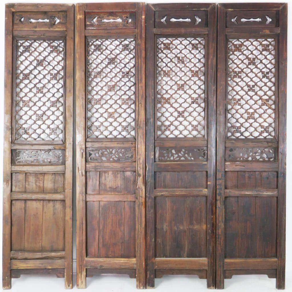 - Set Of 4 Antique Chinese Doors Dark Brown Carved Nice Headboard