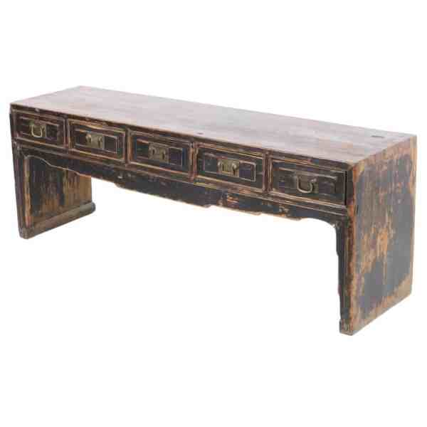 Antique Chinese 58 inch long 5 Drawer 21 inch tall Kang Table