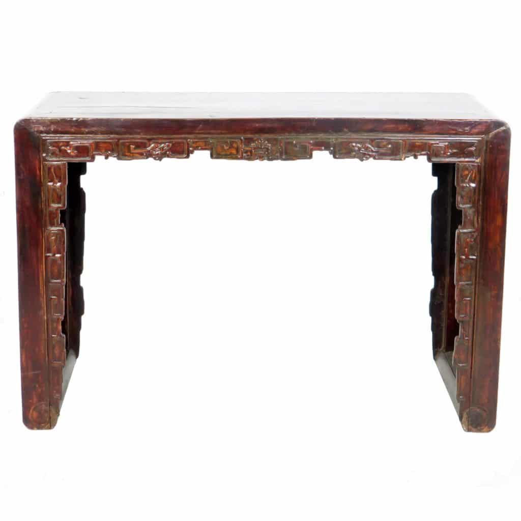 Antique Chinese 50 inch Wide Scroll Foot Altar table Desk - Antique Chinese 50 Inch Wide Scroll Foot Altar Table With Carved Front