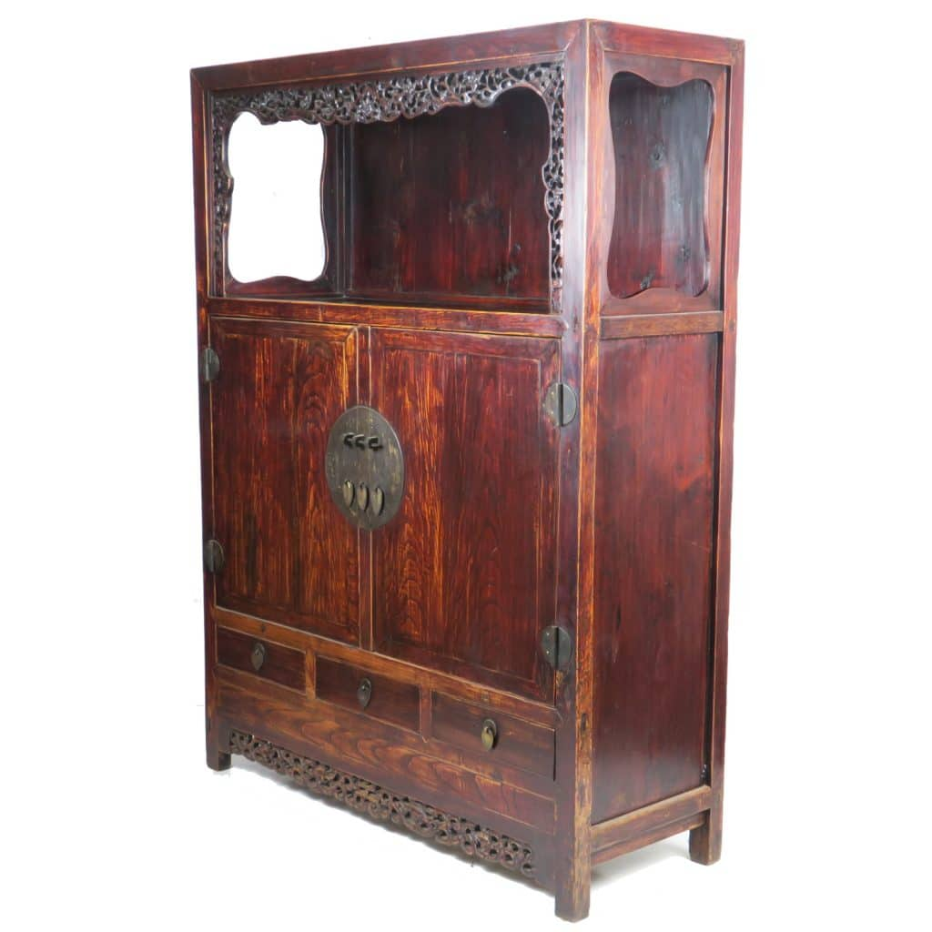 Bon Antique Chinese Large 2 Door Elm Open Display Cabinet 72 Inch Tal