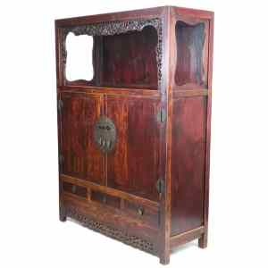Antique Chinese Large 2 Door Elm Open Display Cabinet 72 inch Tal