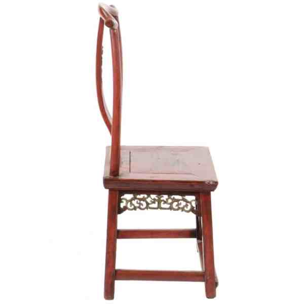 Antique Chinese Red Child's Chair with Carvings