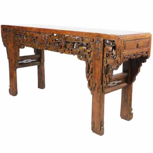 Massive Intricately Carved Antique Chinese Altar Table