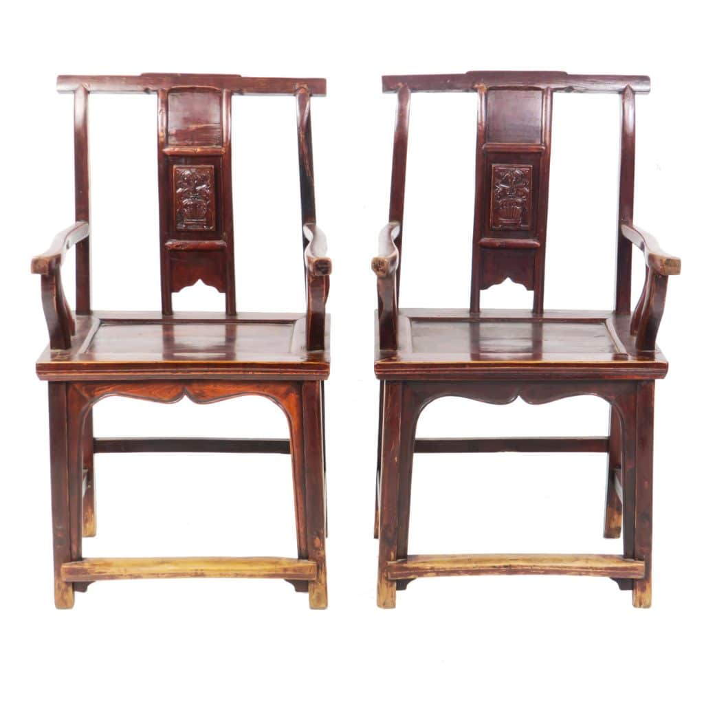 Pair Antique Chinese Carved Back Lamp hanger Arm Chairs - Pair Antique Chinese Carved Back Lamp Hanger Arm Chairs, Sold As Pair