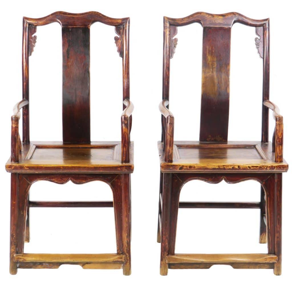 - Pair Antique Chinese High Back Elm Armchair Arm Chair