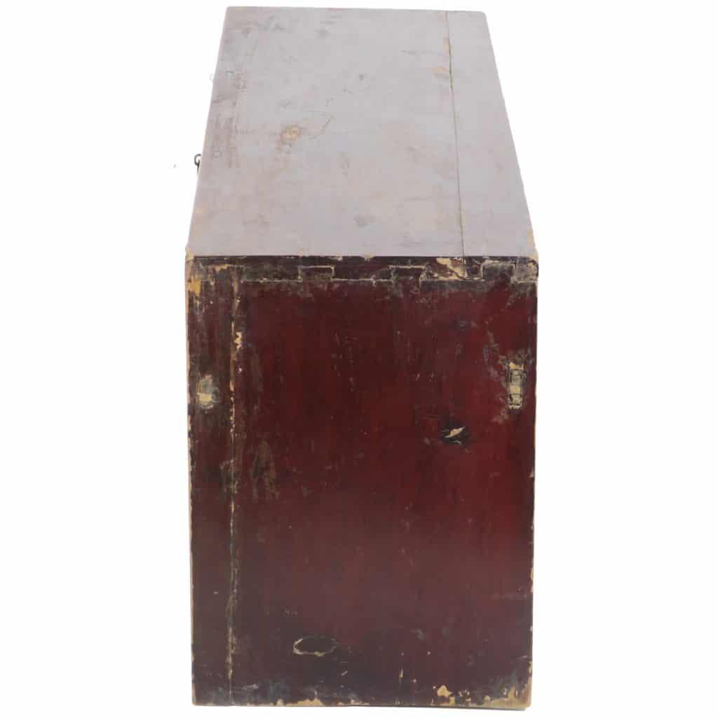 Antique Chinese 50 Inch Long 3 Drawer Low Kang Table Dark Brown