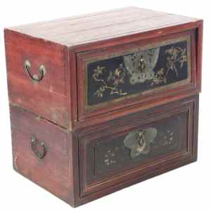 Pair Antique Chinese Stacking Travel Trunks Chests
