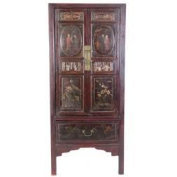Antique Chinese Dark Red Brown Wedding Wardrobe Cabinet
