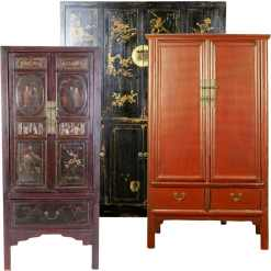 Antique Asian Tall Wardrobe Wedding Storage Cabinets