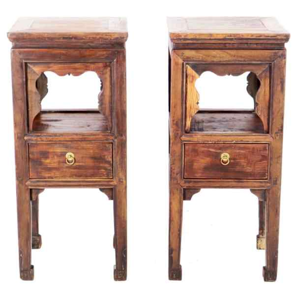 Pair Antique Chinese Brown Tea End Tables 35 inch Tall