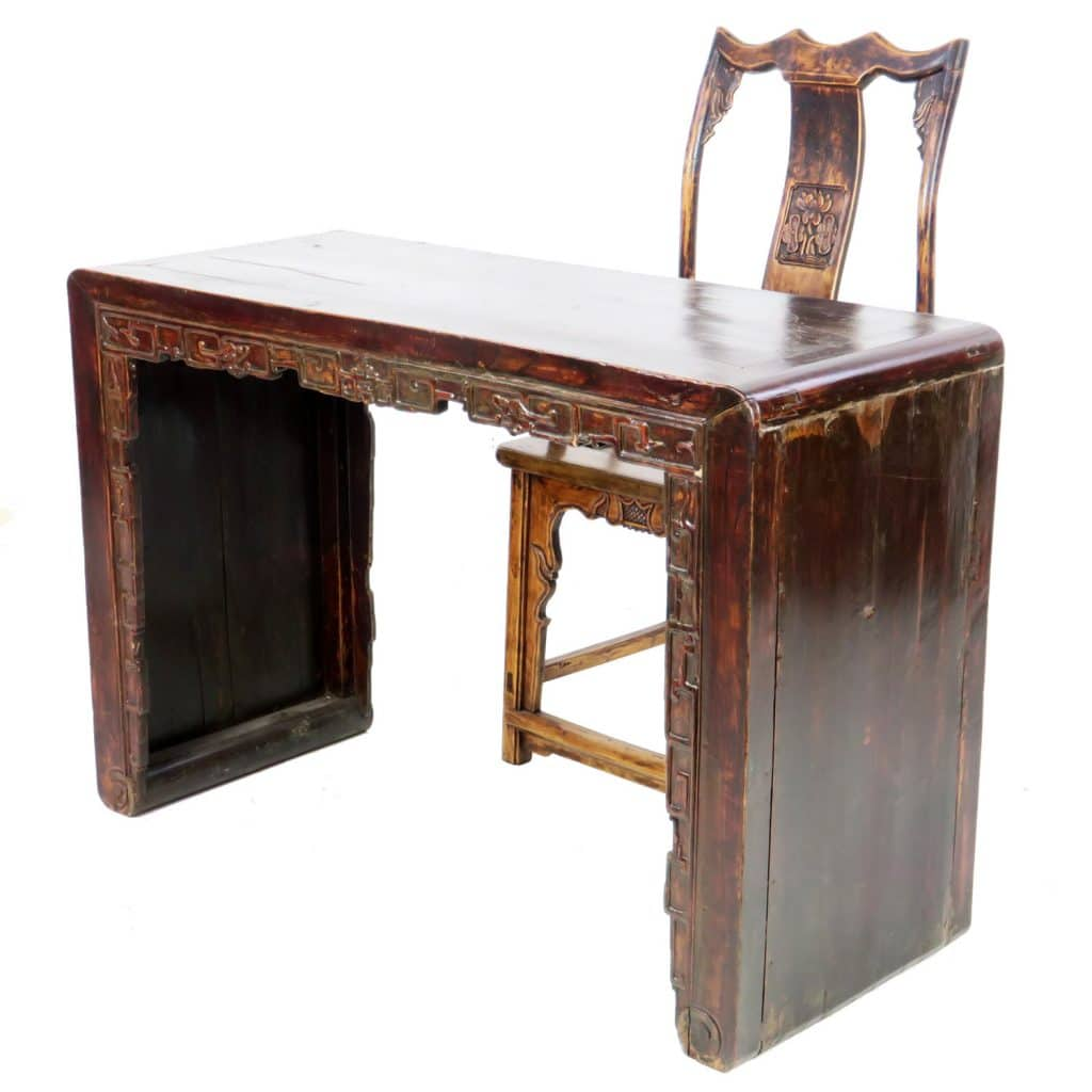 antique-chinese-carved-desk-with-chair - Antique Chinese Carved Desk With Chair. Scroll Foot Table + Antique