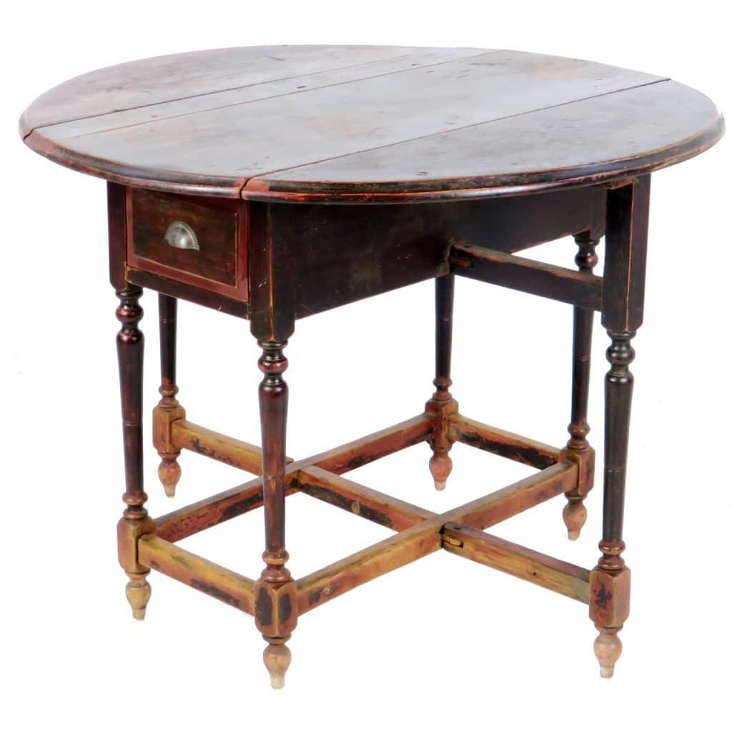 antique chinese round drop leaf gate leg table 42 diameter. Black Bedroom Furniture Sets. Home Design Ideas