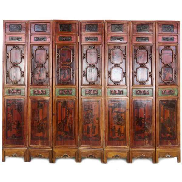 7 Antique Chinese Folding Wedding Bed Panels