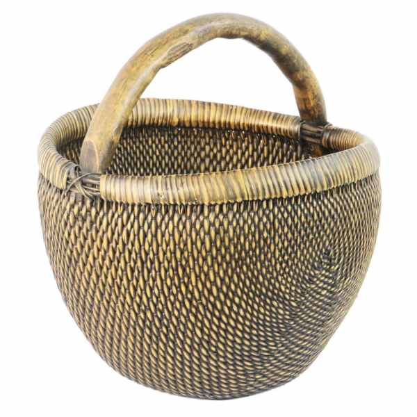 Vintage Chinese Rattan Apple Field Basket with Wood Handle