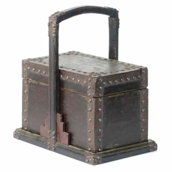 Antique Chinese Small Stacking Wood Food Box with Metal Supports and Decorations