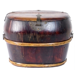 Antique Chinese Wood Shoe Bucket with Woven Bands