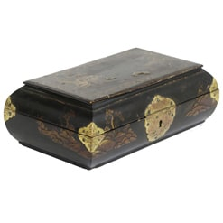 Vintage Chinese Small Black Lacquer Box with curved sides and gold accents.
