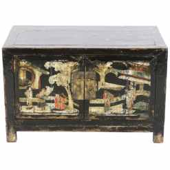 Antique Chinese Small Black Cabinet