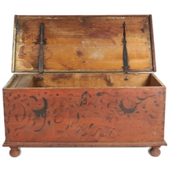 """Primitive Ball Foot Blanket Chest, 51"""" wide with original red paint"""