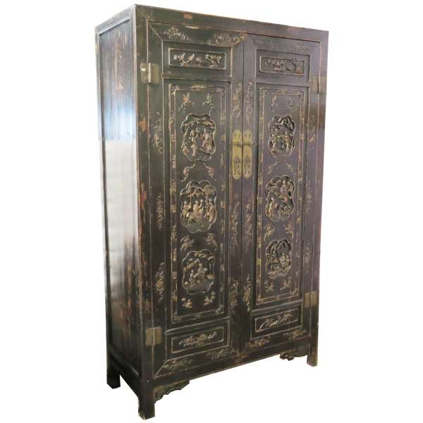 Antique Chinese Black Wardrobe Cabinet Gold Carvings