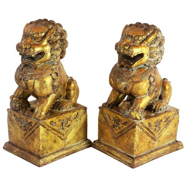 Vintage Carved Foo Dog Statues
