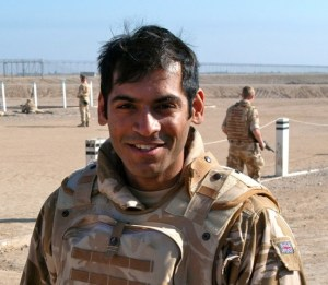 """Adnan Sarwar in the British Army """"My Sergeant Major said to me: 'You speak Arabic, don't you? I said 'No.' He said: 'Why not?' I replied: 'Because I am from Burnley.'"""