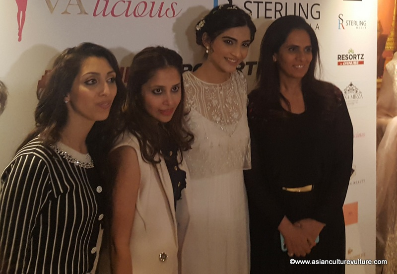 Sonam Kapoor with guests...on the end (left) is Sterling Media's Natasha Mudhar