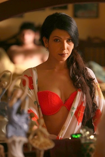 Sexy Shilpa Shukla in nightdress bra