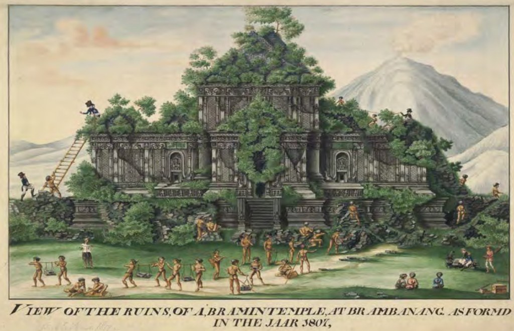 "HC Cornelius, ""View of the ruins of a Bramin temple at Brambanang"""
