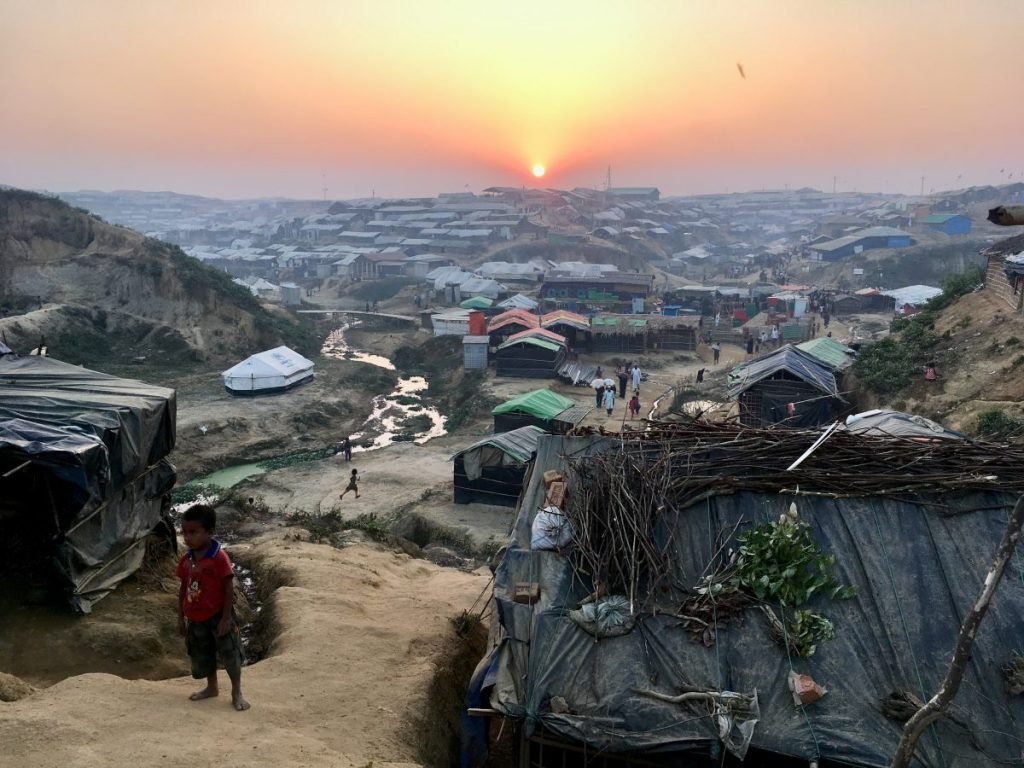"Agnès Bun on location in Bangladesh: ""There was both beauty and sorrow in this sunset radiating above what is now one of the biggest refugee camps in the world."""