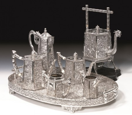Wang Hing silver  repoussé tea set, seven pieces including tray; irst half of twentieth century