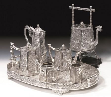 Wang Hing silver  repoussé tea set, seven pieces including tray; irst half of twentieth century