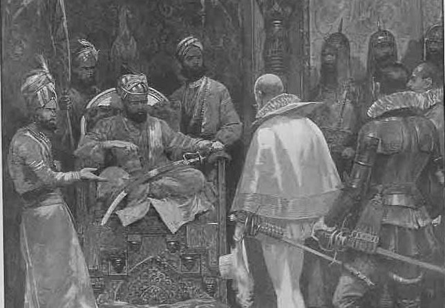 """The Origins of the East India Company"" as the ""Great Mogul"" receives Queen Elizabeth's ambassador (from the Illustrated London News, 1903) (Wikimedia Commons)"