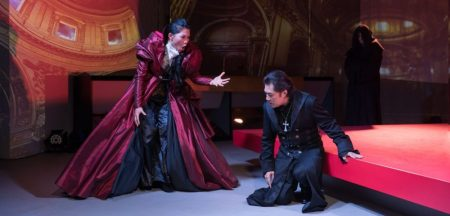 Karen Chia-ling Ho and Carlo Kang in the first scene of The Kiss of Tosca