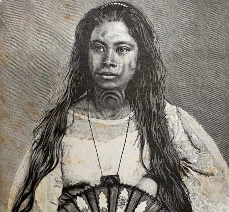 """""""Indienne de Manille"""", from Alfred Marche's Luçon et Palaouan: six années de voyages aux Philippines (1887) [via Jose Dalisay]"""