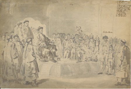 The Emperor Receiving the Embassy, William Anderson (British Library): Sir George Staunton and his son are on the right