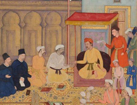 Detail from Akbarnama c 1605: Jesuits at Akbar's court (Wikimedia Commons)