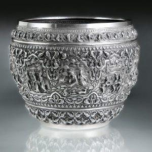 Offering Bowl, 1853 Lower Burma, Sama Jataka, '1215, 7th July. Mr Lon Thar's silver bowl'
