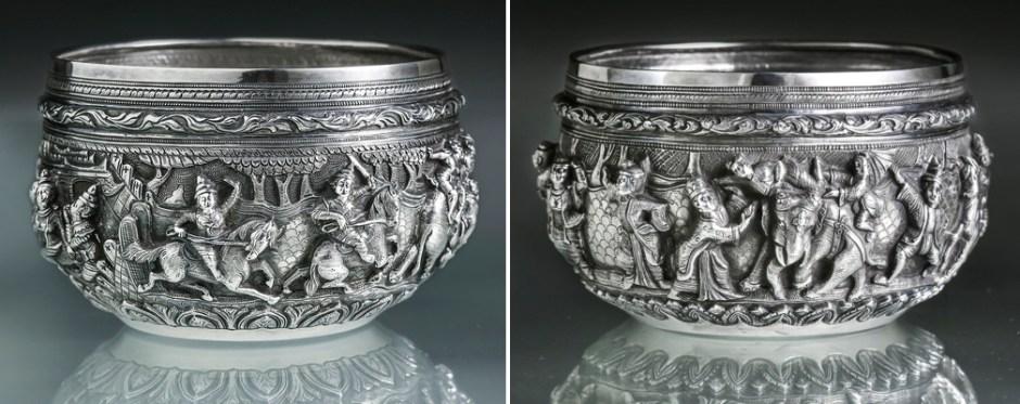 Left: Offering Bowl (S138), c. 1905, Mg Shwe Yon Bros, Lower Burma, Mahajanaka Jataka, 'Mg. Shwe Yon Bros.'; Right: Offering Bowl (S139), c. 1905, Mg Shwe Yon Bros, Lower Burma, Jataka, 'Mg. Shwe Yon Bros.'