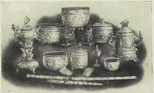 Silverwork for sale by Maung Yin Maung, c. 1905 Photo: Gilles de Flogny, France